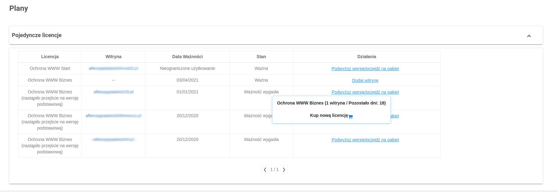 W panelu usługi ochrona WWW możesz dokonać zmiany pakietu na wyższy