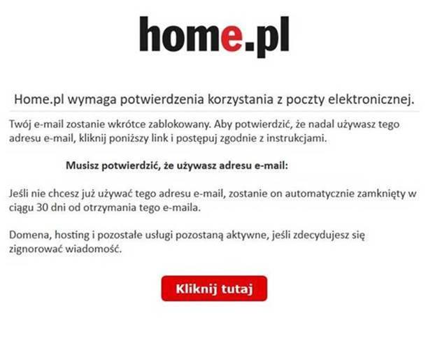 Wiadomość phishingowa podszywająca się pod home.pl