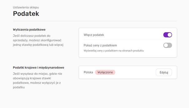 Konfiguracja podatku w sklepie kreatora stron WWW home.pl