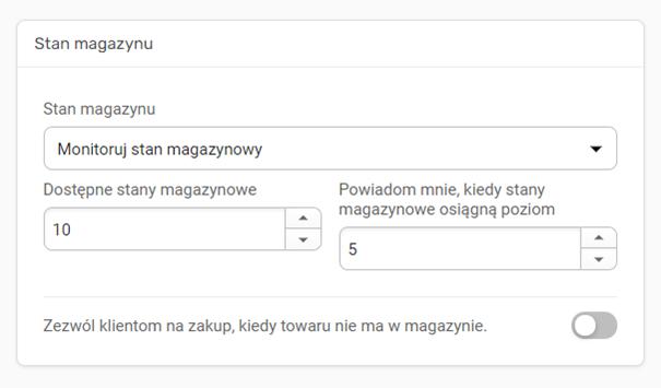 Konfiguracja stanu magazynowego sklepu Kreatora WWW
