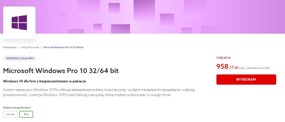 Wybierz interesujący Cię typ licencji Windows 10 i dodaj do koszyka