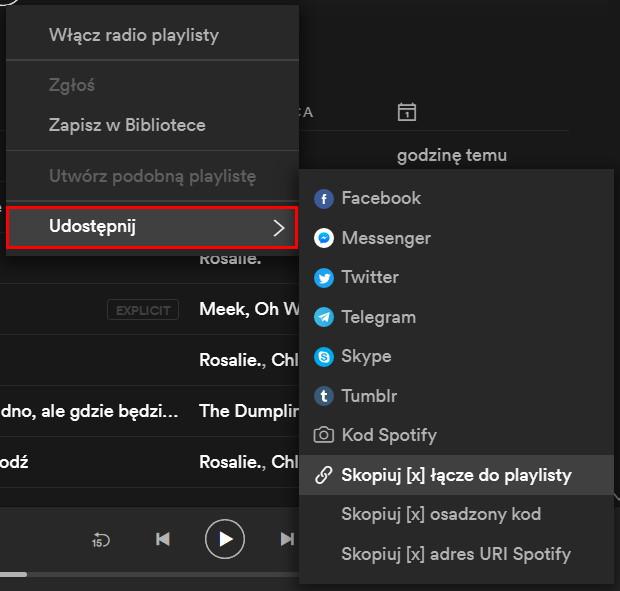 Skorzystaj z dostępnych metod udostępniania playlist Spotify