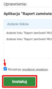 Instalacja aplikacji i akceptacja regulaminu - Raport zamówień PRO