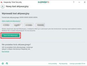 Dodawanie klucza licencyjnego do Kaspersky