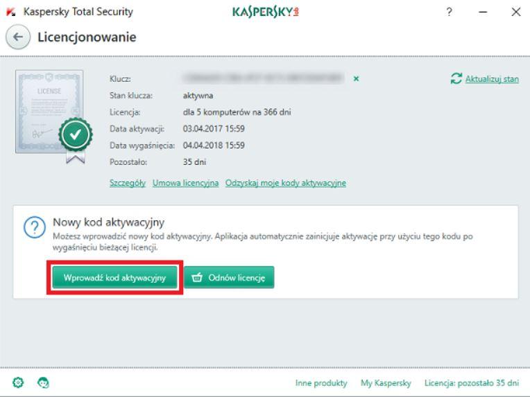 Okno Licencjonowanie w antywirusie Kaspersky