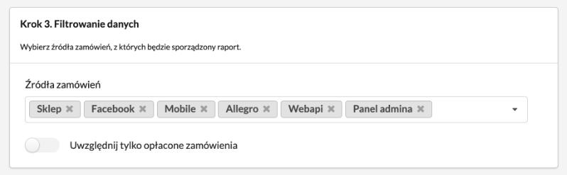 Raport zamówień PRO - filtrowanie danych