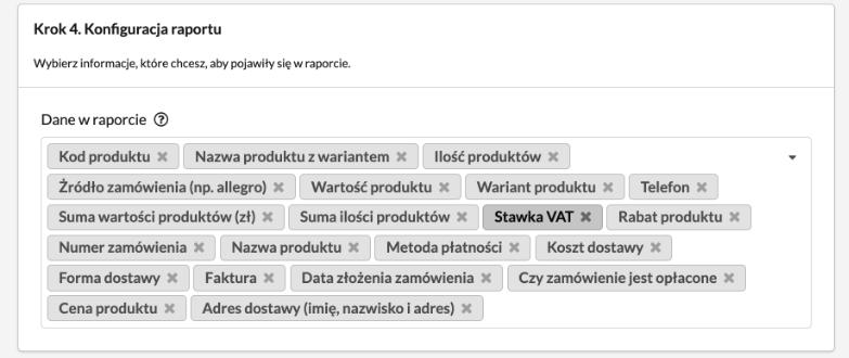 Raport zamówień PRO - konfiguracja raportu