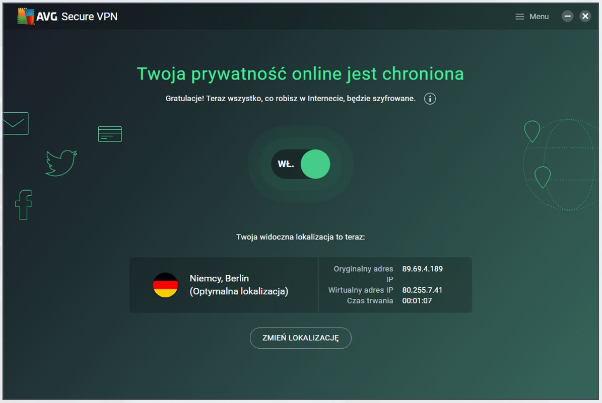 Zielony kolor interfejsu aplikacji AVG VPN. Połączenie z serwerem VPN jest aktywne.