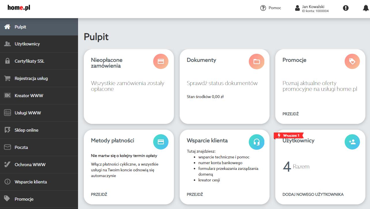 Pulpit Panelu klienta dostarcza podstawowych informacji o statusie usług oraz pozwala na szybkie przejście do ich najważniejszych funkcji