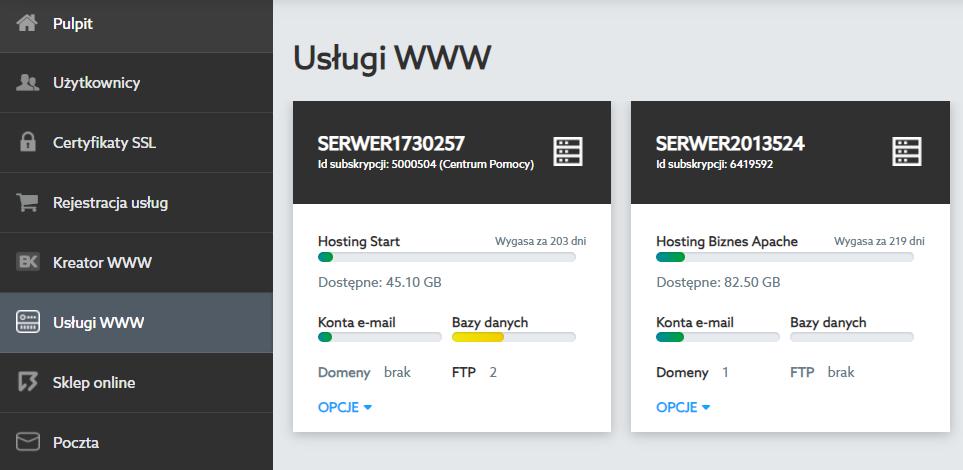 Każda z usług posiada własny panel konfiguracji i dostępnych opcji. Skorzystaj z nich aby zmienić ustawienia usługi.