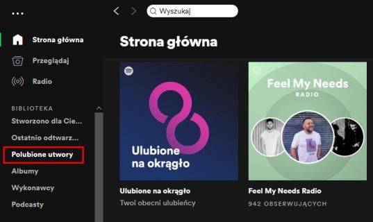 Na koncie Spotify znajdziesz m,in, opcje przeglądania polubionych utworów tworzących Twoją playlistę