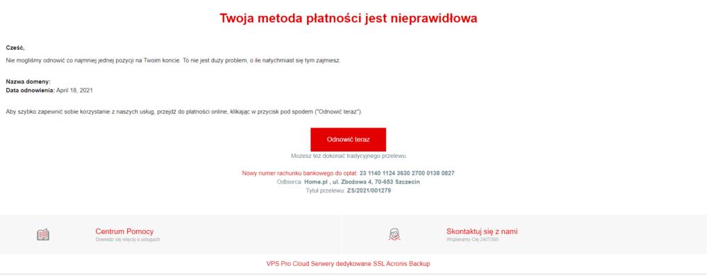 Wiadomosc phishingowa