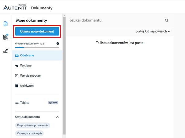 Wybierz Utwórz nowy dokument, aby dodać plik do podpisu na platformie Autenti.
