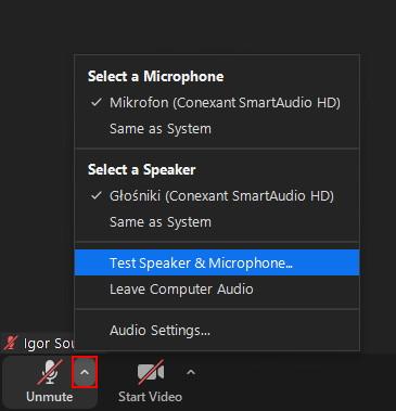 Zoom ustawienia audio