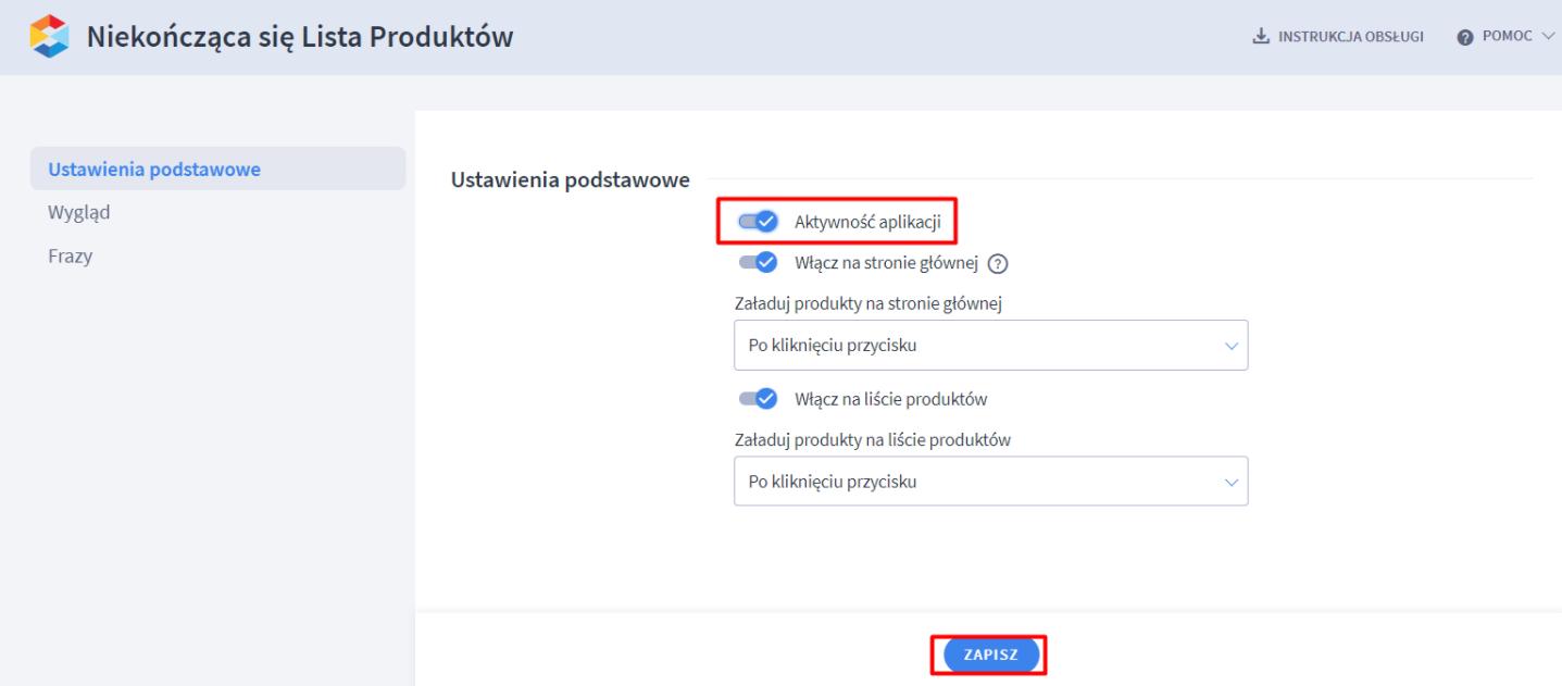 W ustawieniach aplikacji możesz włączyć i wyłączyć aplikację na poszczególnych typów stron