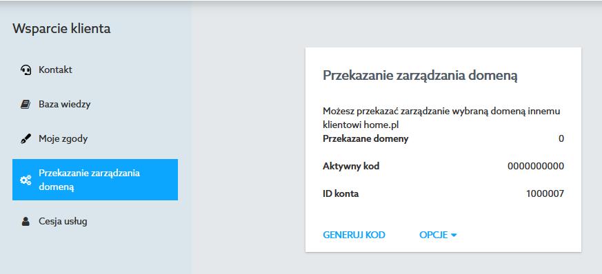 Przekazanie zarządzania domeną pozwoli przekazać innemu użytkownikowi możliwość konfiguracji usługi