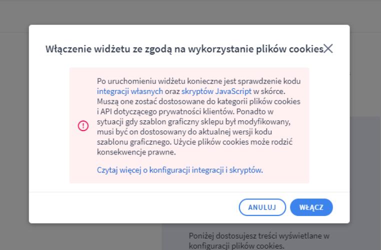 Włączeniu widgetu Cookies towarzyszy komunikat informujący o konieczności sprawdznia szablonu sklepu