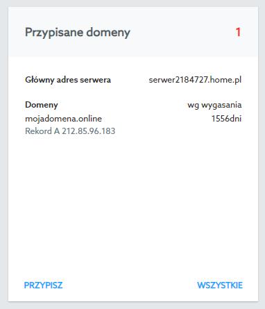 Przypisz domenę do usługi hostingowej aby rozpocząć tworzenie strony WWW i poczty e-mail