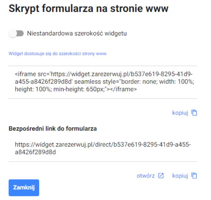 Na stronie systemu rezerwacji wygeneruj kod formularza do umieszczenia w witrynie internetowej