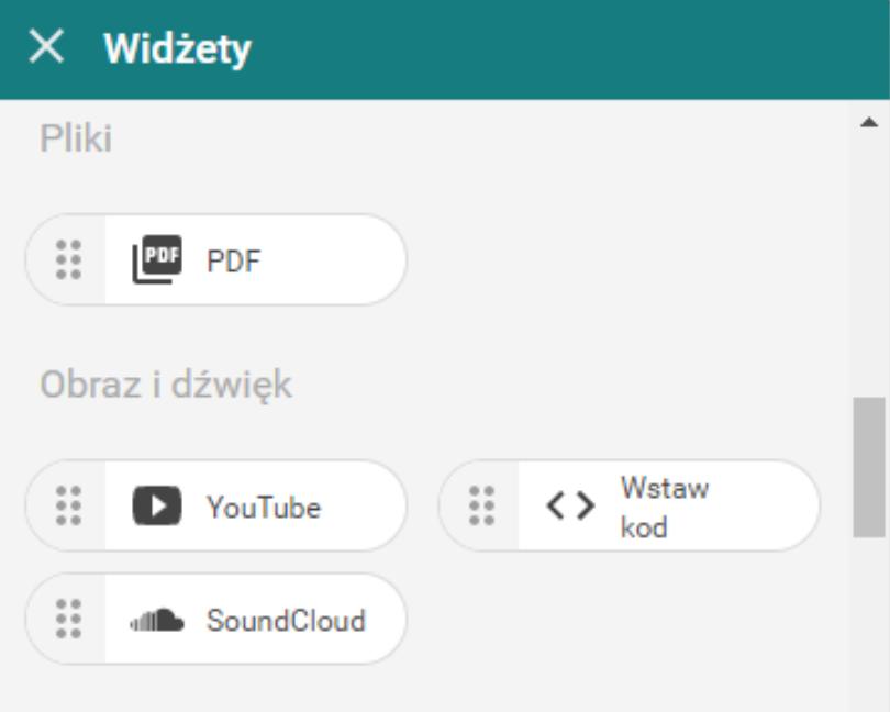 Dodaj nowy widget do strony internetowej aby umieścić w nim formularz