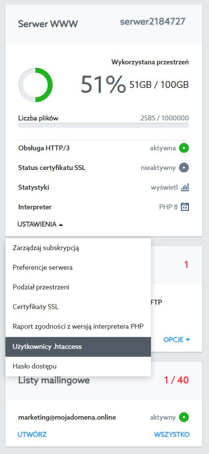 Jak dodać użytkownika pliku .htaccess w Panelu klienta?
