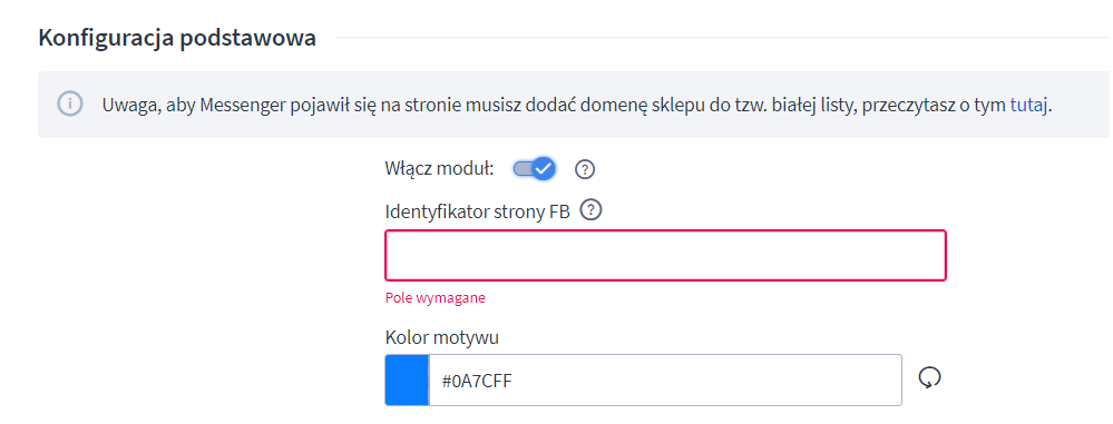 Konfiguracja podstawowa jest konieczna do połączenia aplikacji z Twoim profilem w serwisie Facebook