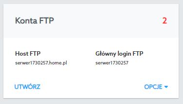W sekcji Konta FTP utworzyć nowego użytkownika FTP oraz przejdziesz do WebFTP