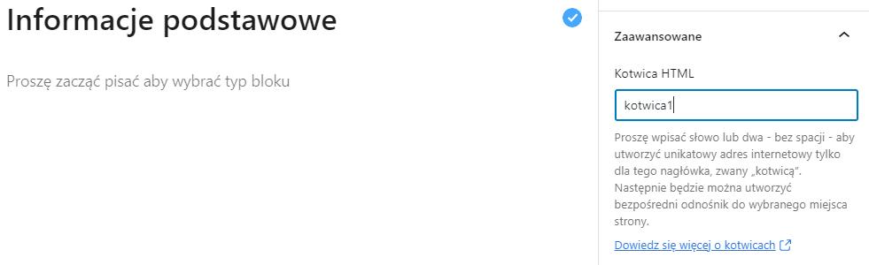 Umieść nazwę kotwicy w wybranym miejscu w treści wpisu