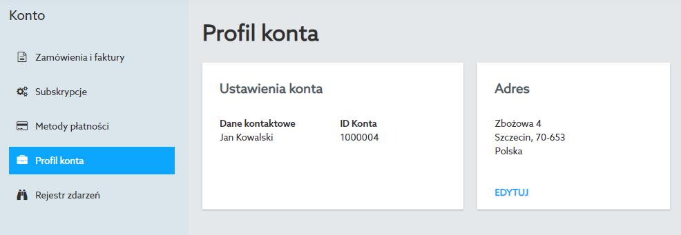 W Panelu klienta sekcji Profil konta znajdziesz dane użytkownika oraz ID konta