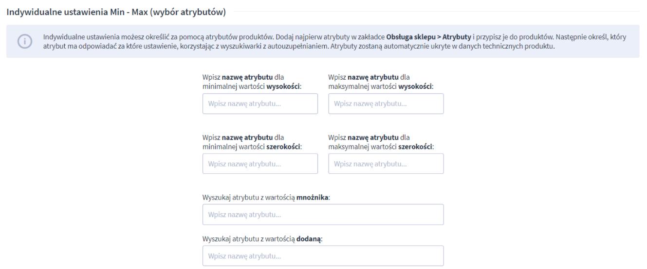 W ustawieniach aplikacji znajdziesz m.in. opcje określenia minimalnej i maksymalnej powierzchni zamówienia