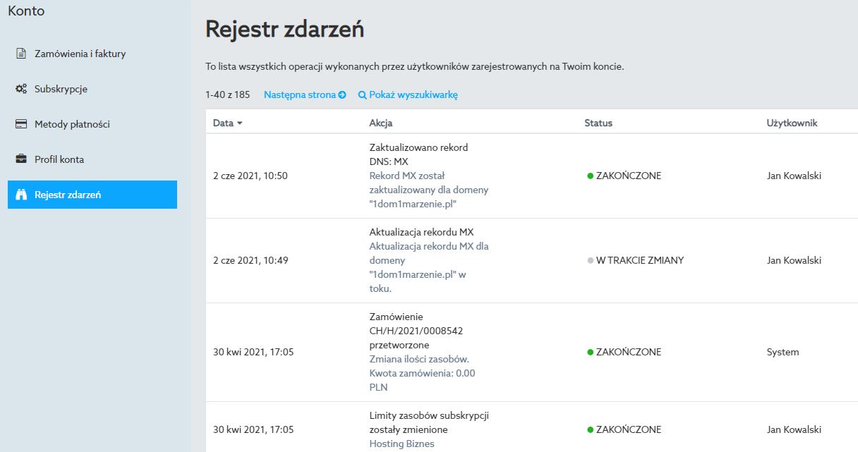 W sekcji Rejestr zdarzeń znajdziesz informacje o wszystkich operacjach wykonywanych w Panelu klienta