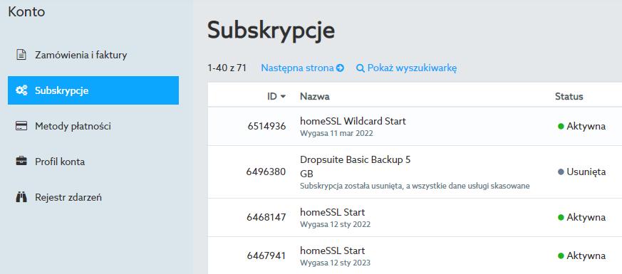 W sekcji Subskrypcje znajdziesz listę wszystkich aktywnych i usuniętych usług na swoim koncie