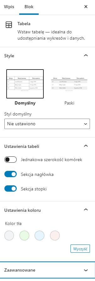 W opcjach dodatkowych możesz włączyć nagłówek i stopkę oraz zmienić kolory tabeli