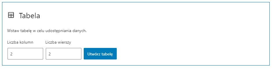Określ domyślny rozmiar tabeli, w każdej chwili możesz dodać nowe kolumny i wiersze.