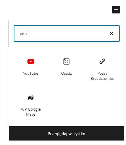 Dzięki blokom WordPress możesz dodać film YouTube za pomocą jednego kliknięcia