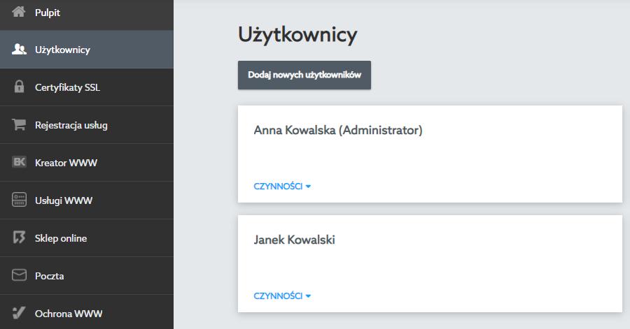 W sekcji Użytkownicy możesz dodawać i zarządzać użytkownikami oraz ich rolą w Panelu klienta