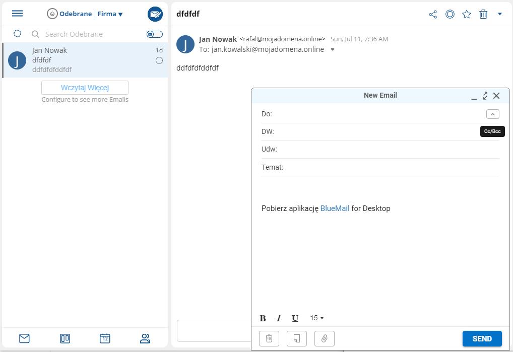 Jak wysłać wiadomość DW, UDW w poczcie BlueMail?