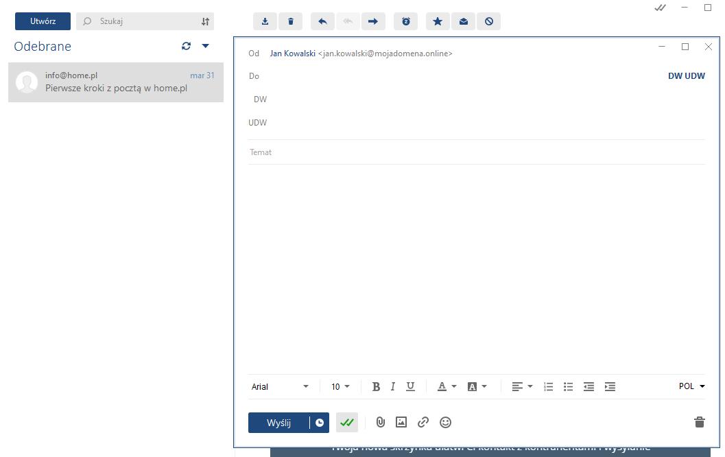 W aplikacji MailBird szybko wyślesz nową wiadomość do jednego lub wielu adresatów