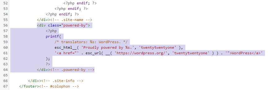 W pliku footer.php szablonu WordPress możesz m.in. znaleźć zawartość najniższego poziomu stopki witryny internetowej