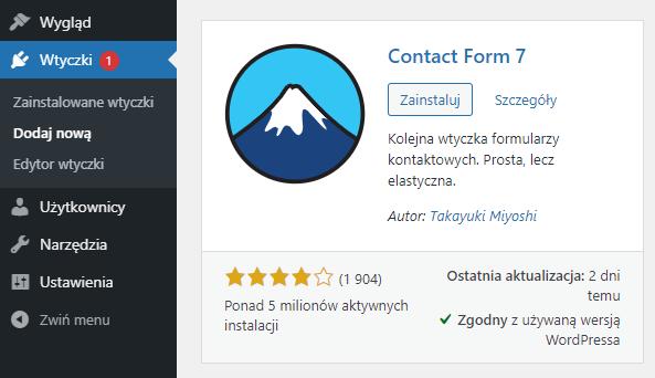 Zainstaluj wtyczkę Contact Form 7