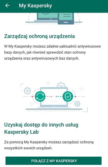 Aplikacja Kaspersky - łączenie z MyKaspersky