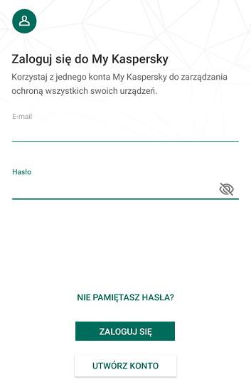 Logowanie/Rejestracja w aplikacji My Kaspersky