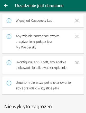 Komunikat w aplikacji Kaspersky