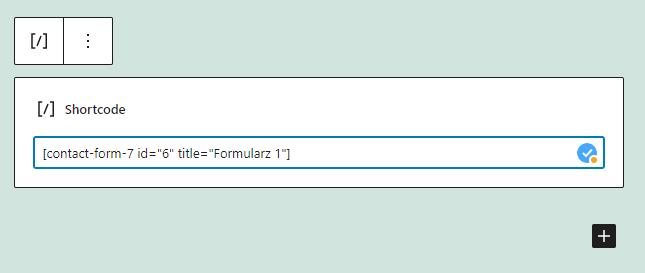 Korzystając z bloku Shortcode umieść formularz we wpisie lub na stronie WordPress