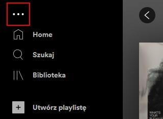Wybierz Opcje Spotify aby zobaczyć dodatkowe możliwości personalizowania aplikacji i jej obsługi