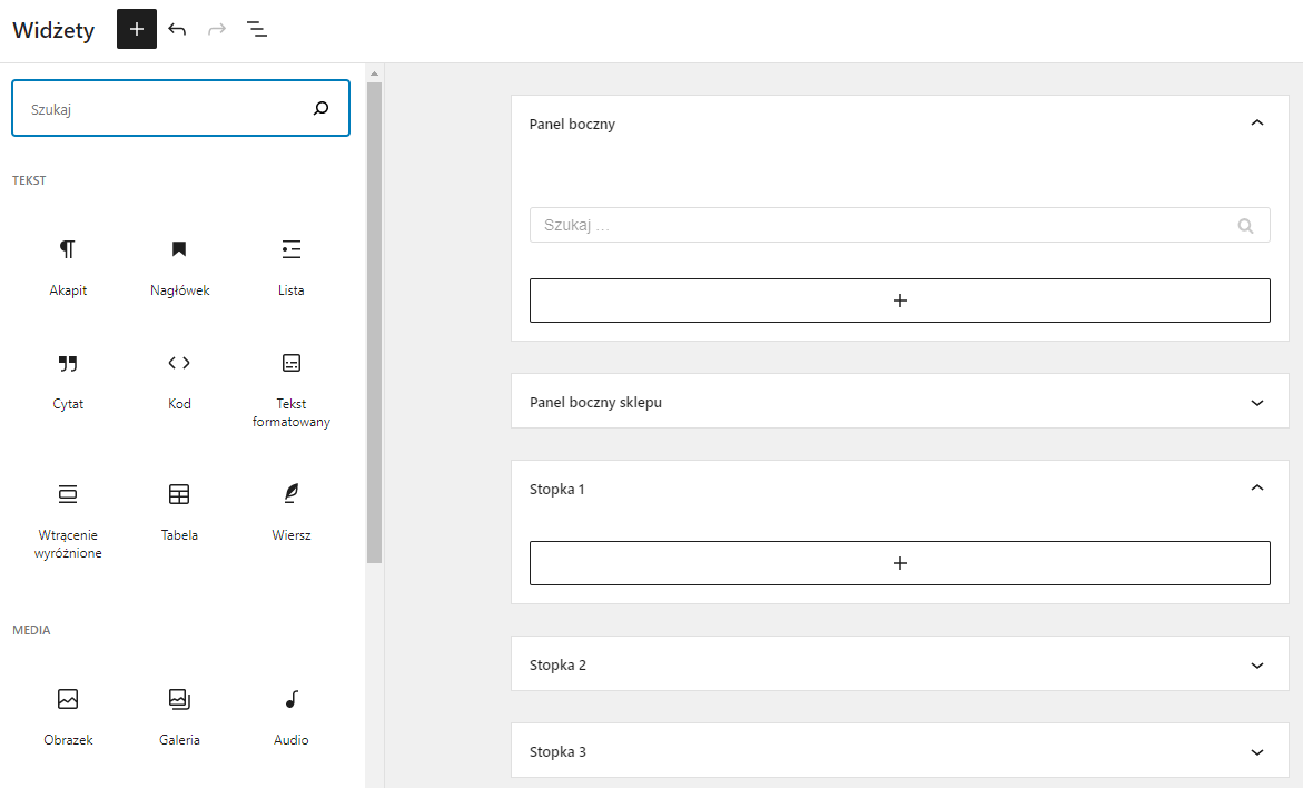 Dodawaj nowe widgety do wybranych obszarów strony internetowej