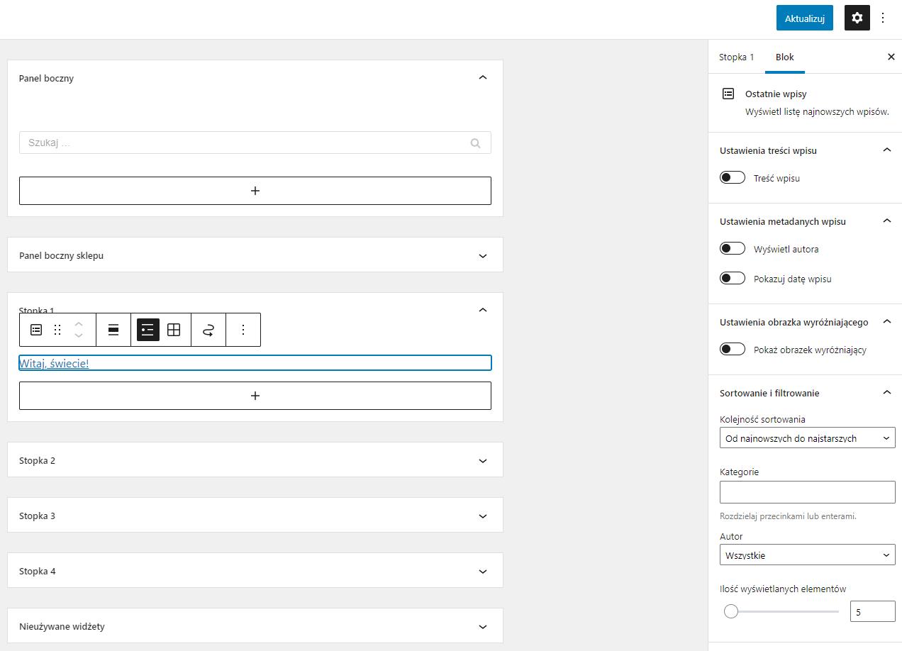 Po dodaniu widgetu możesz łatwo spersonalizować jego ustawienia