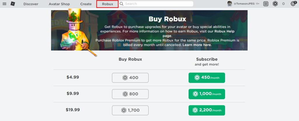 Możesz kupić Robuxy korzystając z oficjalnej witryny Roblox. DO zakupu konieczne jest podanie danych karty płatniczej