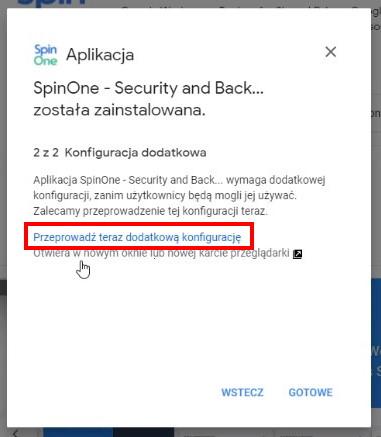 Opcja dodatkowej konfiguracji Spin
