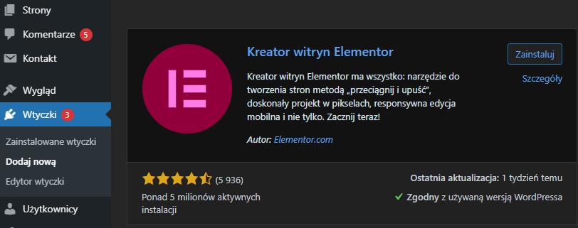 Zainstaluj wtyczkę Elementor wyszukując ją w bibliotece wtyczek WordPress